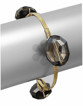 Black Iridescent Faceted Stone Bangle Bracelet Gold Plated