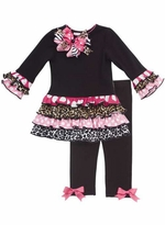 Black Knit Cheetah, Dot Ruffle Print Girls Legging Set