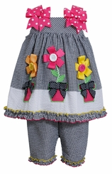 Black Seersucker Flower Pot Capri Set CLEARANCE 18 months