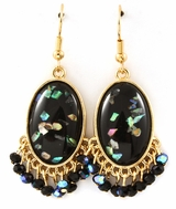 Black Semi Precious Stone Drop Earrings