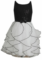 Black Sequin White Chiffon Special Occasion Dress