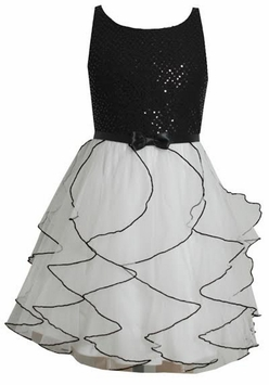 Black Sequin White Chiffon Special Occasion Dress - sold out