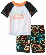 Black Shark Swim Trunks and Rash Guard
