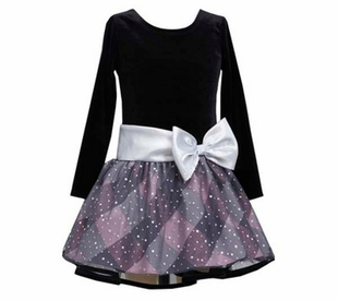 Black Silver Pink Plaid Hipster Dress - Girls Special Occasion Dress