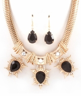 Black Tear Drop Gold Tone Statement Necklace Set