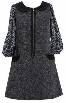 Black Tweed and Pleather Exposed Front Zip Pocket Dress