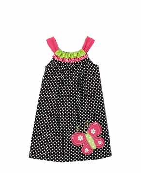 Black/ White Dot Dress With Butterfly Applique