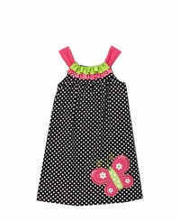 Black/ White Dot Dress With Butterfly Applique  CLEARANCE FINAL SALE!