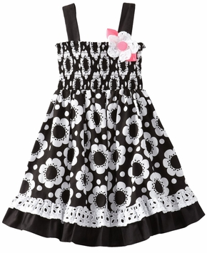 Black/ White Floral Dress With Eyelet Trim CLEARANCE FINAL SALE
