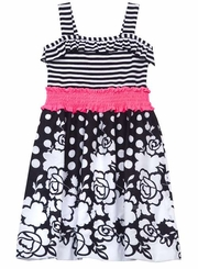 Black/ White Floral Stripe Woven Dress