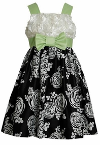 Black White Green  Rosette Shantung Dress -  FINAL SALE