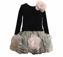 Girls Formal Dress Black with Pink Flowers  2T - 6X FINAL SALE