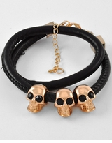 Black Wrap Skull Bracelet - One Left