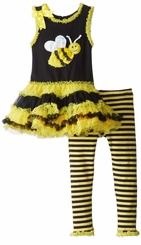 Black / Yellow Bee Tutu Legging Set With 3D Bumblebee