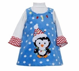 Blue Fleece Penguin Dress - Holiday Dress