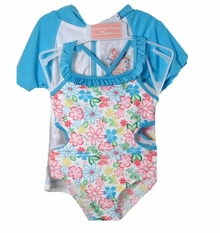 BLUE FLORAL Cutout Swimsuit with Robe - Infant Girls