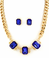 Blue Rhinestone Gold Plated Necklace and Earring Set