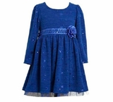 Blue Sparkle Foil Dot Knit Winter Dress