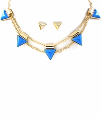 Women's Blue Triangle Spike Necklace and Earring Set