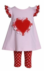 Bonnie Baby Baby-Girls Infant Heart Applique On Knit Top To Dot Capri