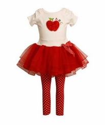 Back to School Bonnie Jean Apple Tutu Pant Set CLEARANCE