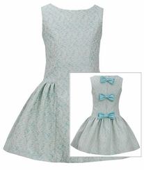 Bonnie Jean Little Girls Aqua Jacquard Back Bow Dress