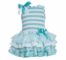 Bonnie Jean Aqua Sleeveless Striped Tiered Party Dress