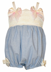Bonnie Jean Baby Blue Chambray Bow Bubble