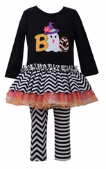 Bonnie Jean Baby Girl Black Ghost Boo Legging Set