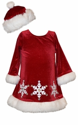 Bonnie Jean Girl Red Velour Santa Snowflake Dress with HAT