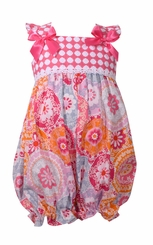 Bonnie Jean Baby Girl's Check Floral Summer Bubble Coverall