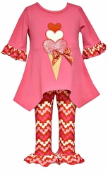 Bonnie Jean Baby Girl's Fuchsia Heart Ice cream  Valentine's Day Pant Set
