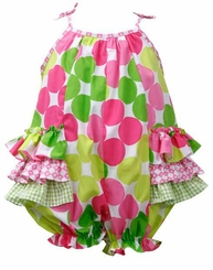 Bonnie Jean Baby-Girl's Large Multi Dot Ruffle Bubble One Piece