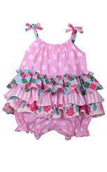 Bonnie Jean Baby Girl's Mixed Print Pink Coverall