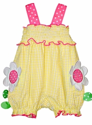 Bonnie Jean Baby Girl's Smocked Daisy Seersucker Romper