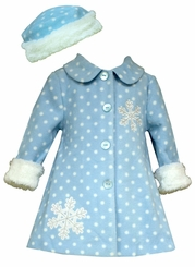 Bonnie Jean Baby Girl's Snowflake Fleece Coat with Hat CLEARANCE