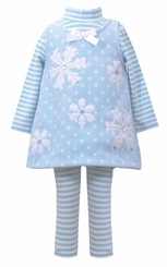 Bonnie Jean Baby-Girls Blue Snowflake Fleece Dress Set