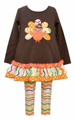 Bonnie Jean Baby-Girls Brown Pilgrim Owl Legging Set