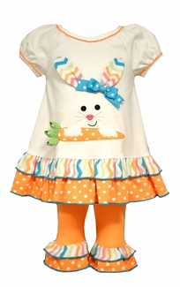 Bonnie Jean Baby Girls Bunny Carrot Dot Legging Set