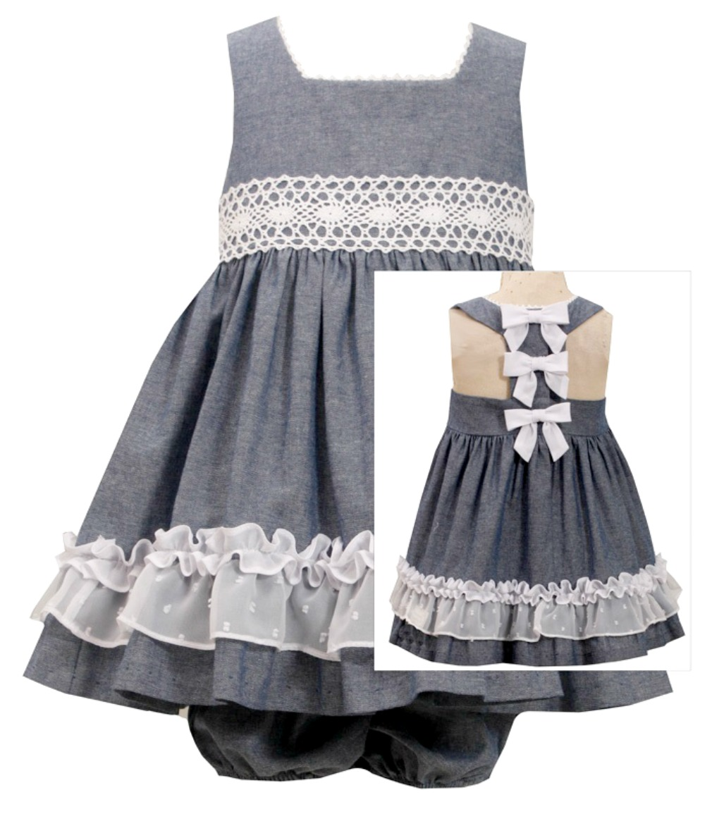 Bonnie jean baby girls chambray bow back dress