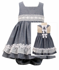 Bonnie Jean Baby-Girls Chambray Bow Back Dress