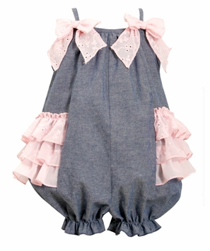 Bonnie Jean Baby-Girls Chambray Pink Eyelet Sunsuit