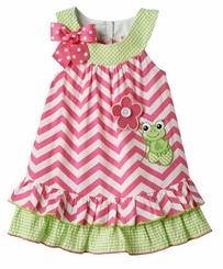 Bonnie Jean Baby-Girls Chevron Frog Applique Ruffle Trim Dress FINAL SALE