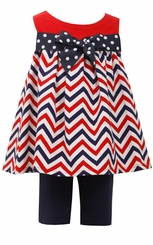 Bonnie Jean Baby Girls Chevron Patriotic Pant Set