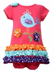 Bonnie Jean Baby-Girls Coral Knit Bird Dress