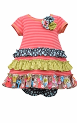 Bonnie Jean Baby-Girls Coral Owl Dress Set