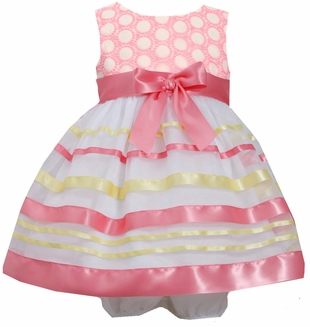 Bonnie Jean Baby Girls Coral Ribbon Dress :  Easter Dress