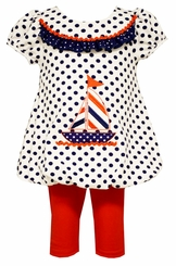 Bonnie Jean Baby Girls Dot Nautical Boat Legging Set