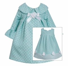 Bonnie Jean Baby Girls Easter Coat Dress Aqua Dot