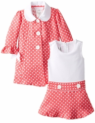 Bonnie Jean Baby-Girls Easter Dress Coral Dot Jacket Dress